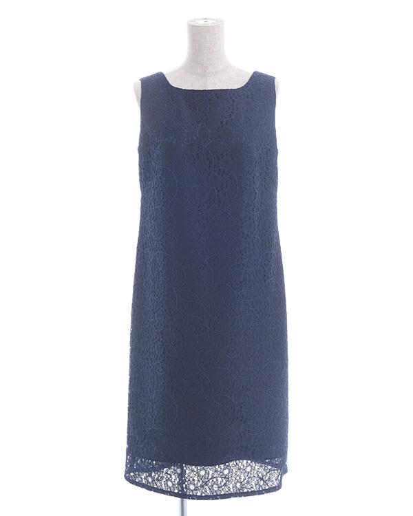 【ネイビー 9号】ラッセルレース テープ刺繍 ストレートドレス