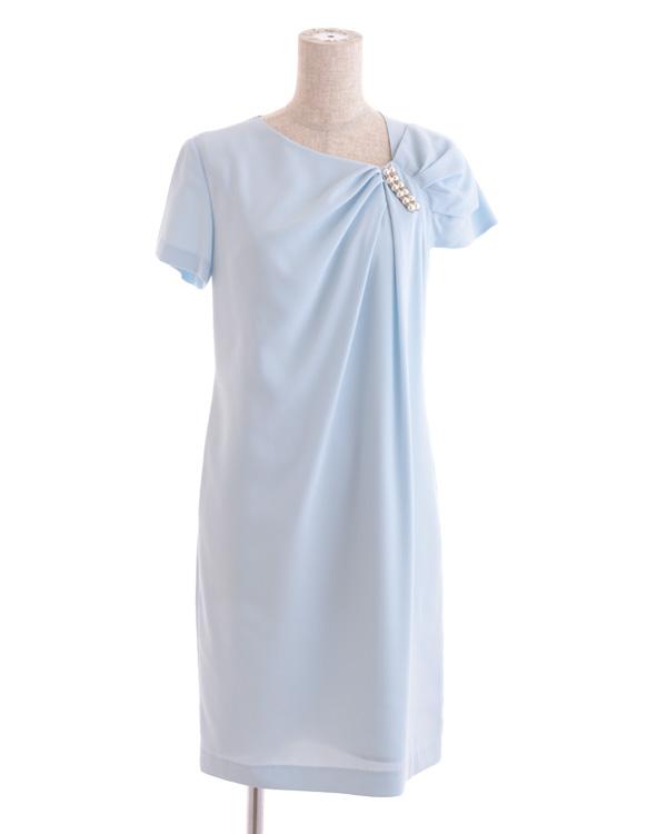 【サックス 7号】シャイニージョーゼット 変形タックドレス