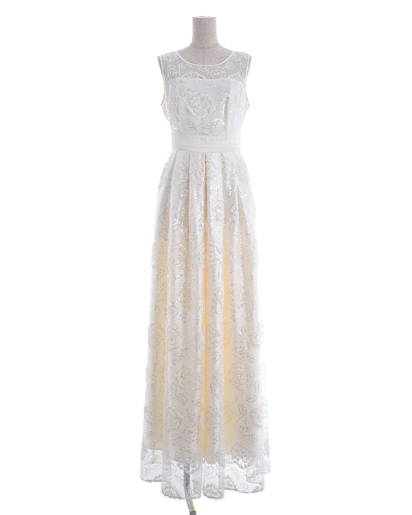 【クリーム 9号】チュール シフォンテープ刺繍 スピンドル仕様 ロングドレス