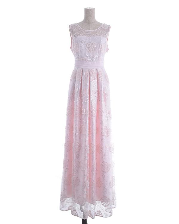 【ピンク 9号】チュール シフォンテープ刺繍 スピンドル仕様 ロングドレス