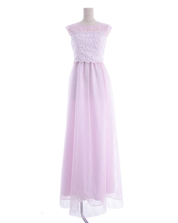 【ピンク 9号】ケミカルレース チュールグリッター スピンドル仕様 ロングドレス
