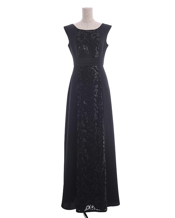 【ブラック 13号】モードサテン レーススパン刺繍 ロングドレス
