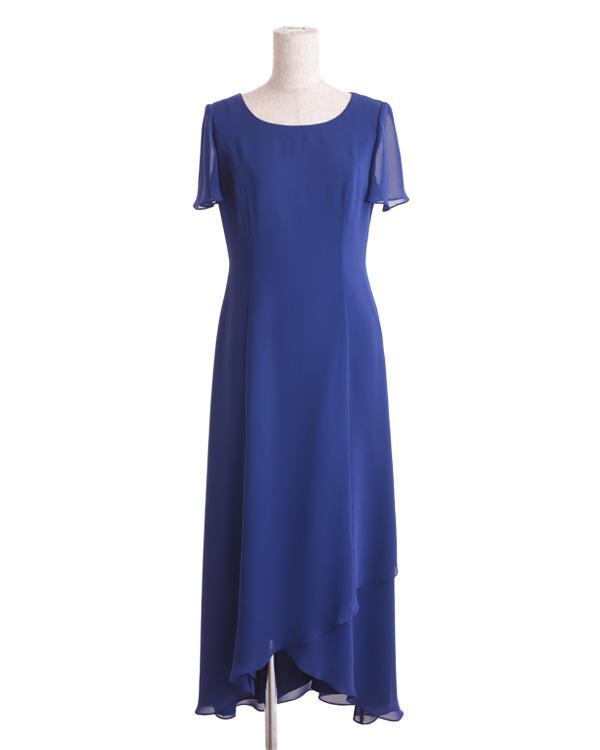 【ブルー 9号】シルキーシフォン 袖付き ロングドレス