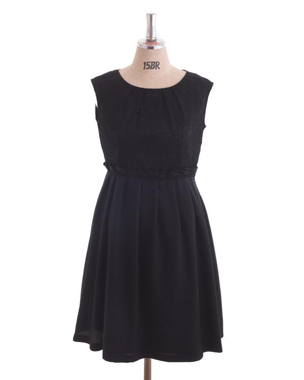 【ブラック 15号】レース×アムンゼン タックスカート 大きいサイズ ブラウジング風ドレス