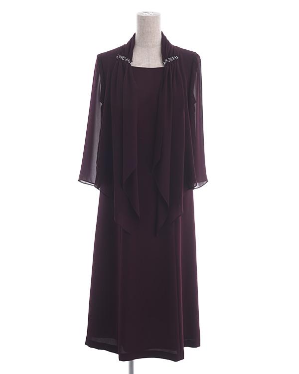 【ワイン 9号】ストレッチ セミロングドレス シフォン羽織り付きドレス
