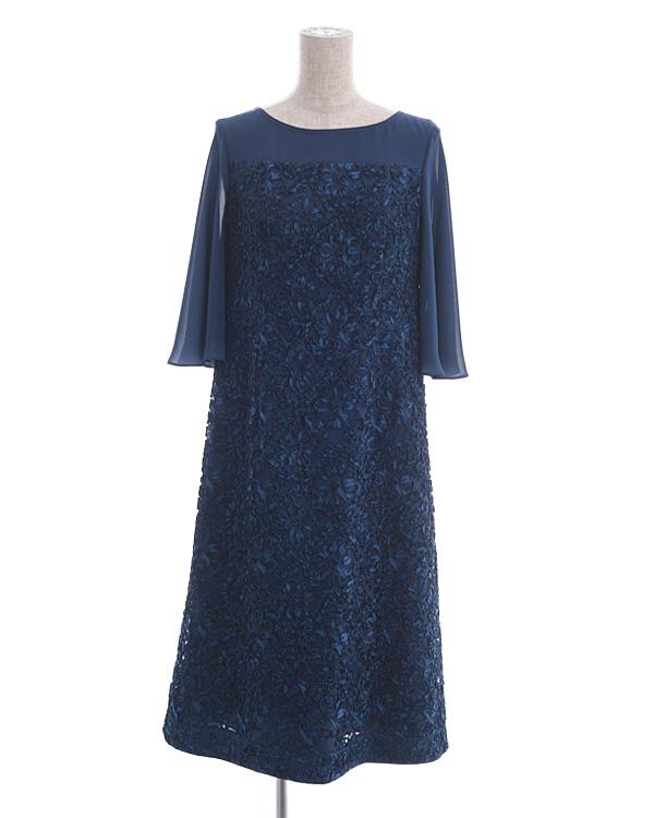 【ネイビー 9号】シフォン袖付き 花柄テープ刺繍 レースドレス