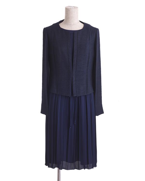 【ネイビー 9号】ジャカードジャケット プリーツドレス アンサンブル