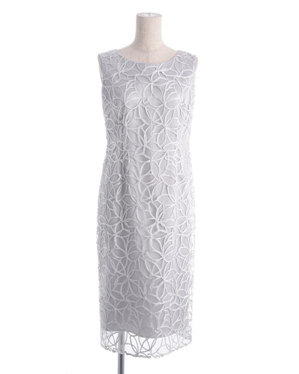 【シルバー 13号】チュール×ラメコード刺繍 ストレートライン レースドレス 結婚式 親族・ゲスト向け 各種パーティー対応可