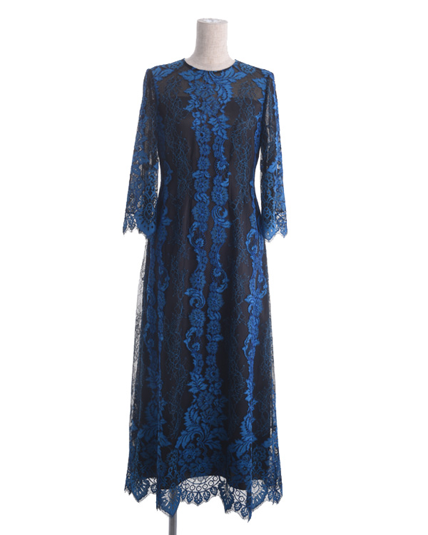 【ブルー×ネイビー 9号】オシアナラッセルレース セミロング丈 袖付きドレス 結婚式 親族・ゲスト向け