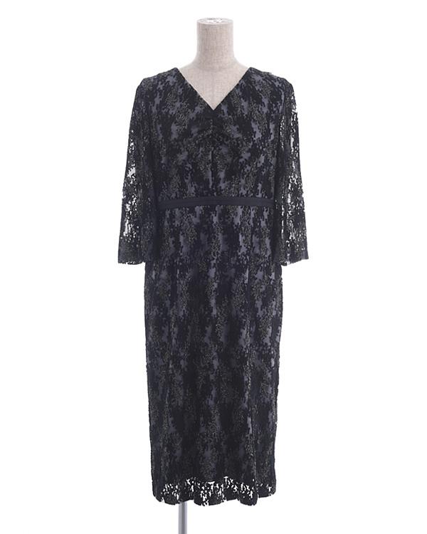 【ブラック 11号】ラメエンブロイダリー 袖付きドレス