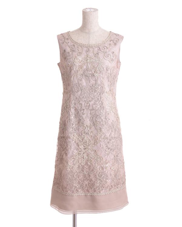 【ベージュ 9号】チュールテープコード刺繍 シフォン切り替えドレス
