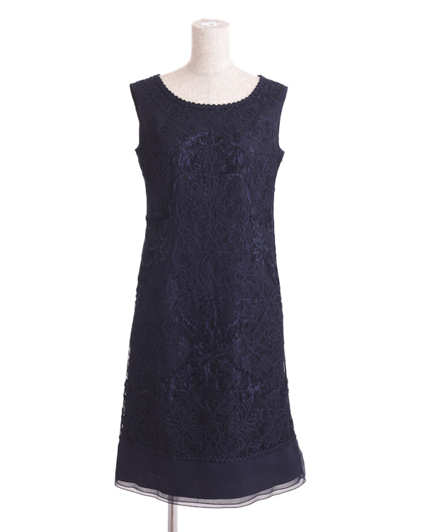 【ネイビー 17号】チュールテープコード刺繍 シフォン切り替えドレス