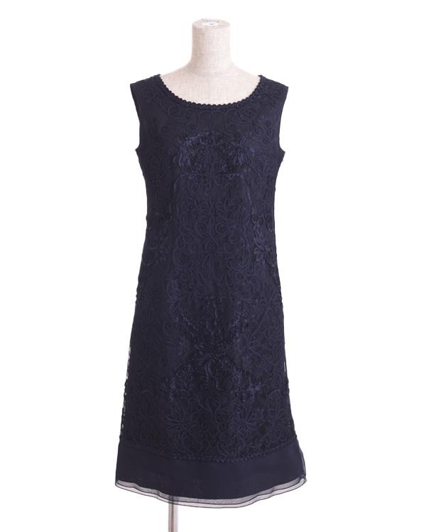 【ネイビー 13号】チュールテープコード刺繍 シフォン切り替えドレス