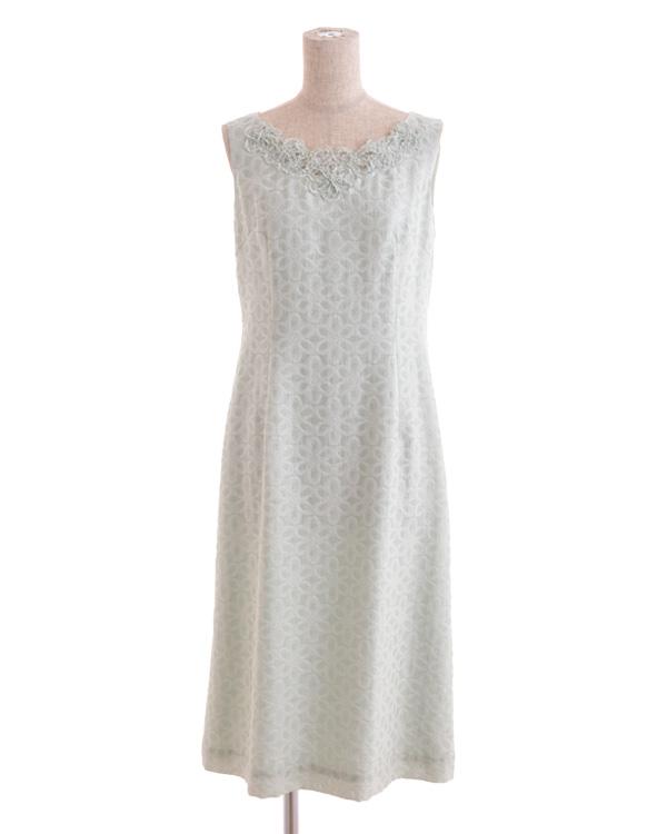【グリーン 9号】花柄カットジャカード ワッシャー加工 フラワーモチーフドレス