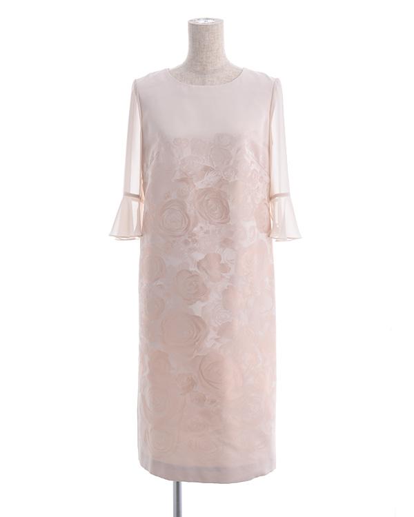【ベージュ 9号】シフォン袖付き フラワージャカードドレス