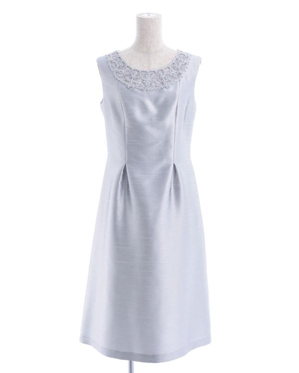【シルバー 9号】シャンブレーシャンタン×レース タックドレス