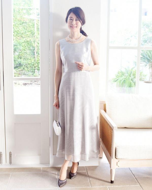 【シルバー ※色・サイズ選択可】シャンブレーシャンタン×オーガンジー セミロングドレス