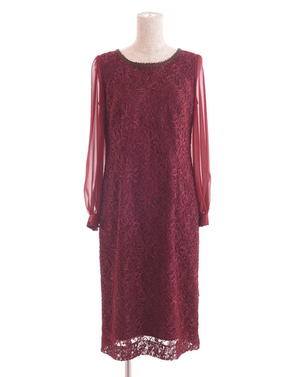 【ワイン 7号】レース×テープ刺繍 シフォンスリーブ 袖付きドレス