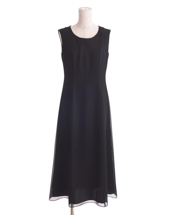 【ブラック ※サイズ選択可】ベーシック シフォンセミロングドレス