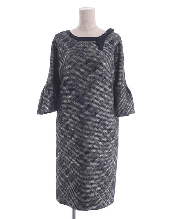 【ネイビー 9号】スパンコールチェック 袖付きドレス