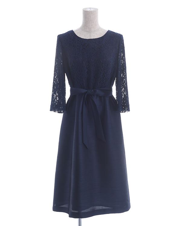 【ネイビー 11号】シャンブレーシャンタン ラッセルレース ウエストリボン 袖付きドレス