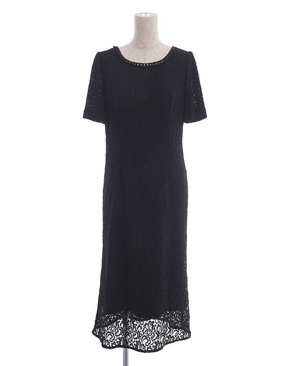 【ブラック 9号】ラッセルレース 袖付きドレス