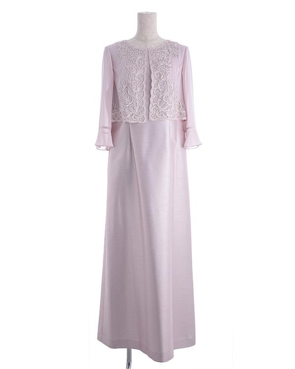 【ピンクベージュ ※色・サイズ選択可】シャンタン×刺繍シフォン お袖付きロングドレス