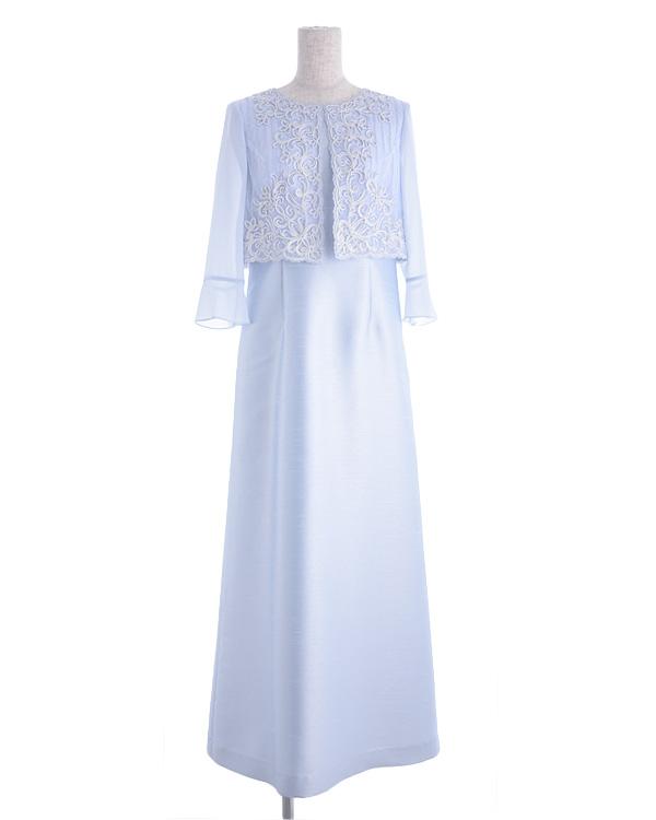 【サックス 13号】シャンブレーシャンタン パウダリ―シフォン コード刺繍 お袖付き ロングドレス