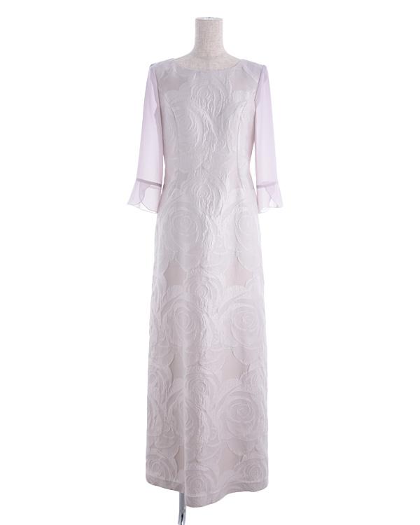 【ピンクベージュ 9号】シルク混 フラワージャカード パウダリーシフォン お袖付き ロングドレス
