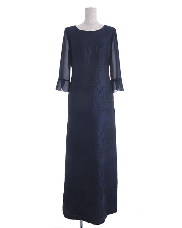 【ネイビー 9号】シルク混 フラワージャカード パウダリーシフォン お袖付き ロングドレス