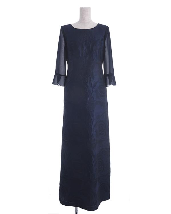 【ネイビー 11号】シルク混 フラワージャカード パウダリーシフォン お袖付き ロングドレス