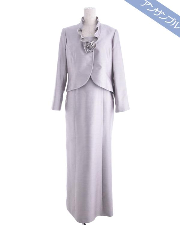 【ピンク 15号】カスリツイル シルク100% スタンドフリルカラー コサージュ付き 正礼装 アンサンブル