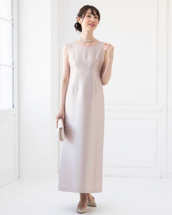 【ピンクベージュ ※色・サイズ選択可】シャンブレーシャンタン ストレートライン ロングドレス