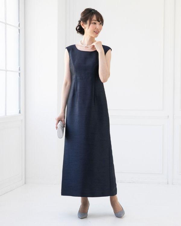 【ネイビー 9号 ※色・サイズ選択可】シャンブレーシャンタン ストレートライン ロングドレス