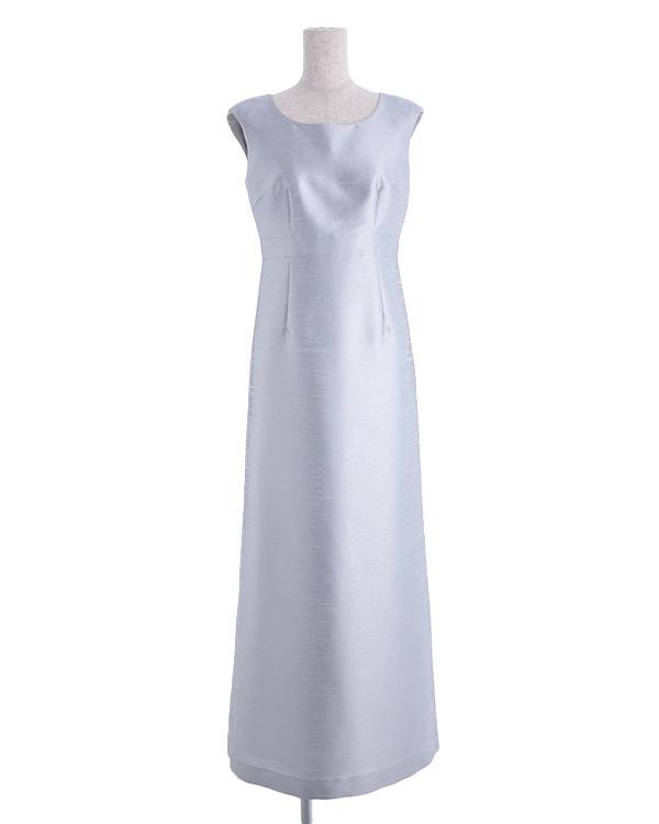 【シルバー 9号】シャンブレーシャンタン ウエスト切り替え ストレートライン 正礼装 セットアップ 同素材ジャケット有り ロングドレス