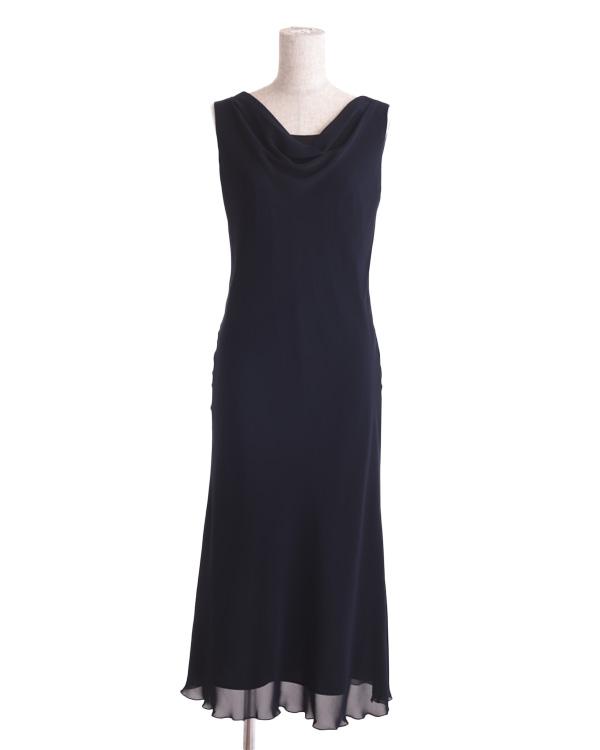 【ブラック 13号】シルキーシフォン ドレープネックドレス