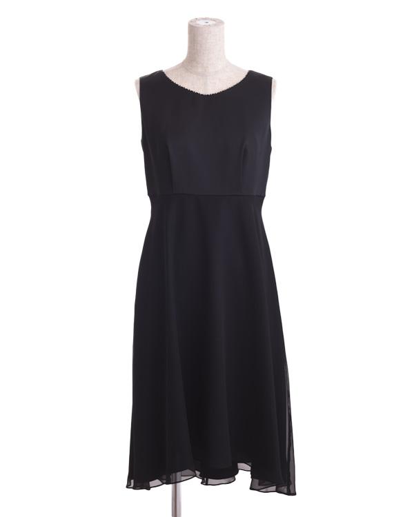 【ブラック 9号】サテン×オーロラシフォン ビジュー付き セミロングドレス