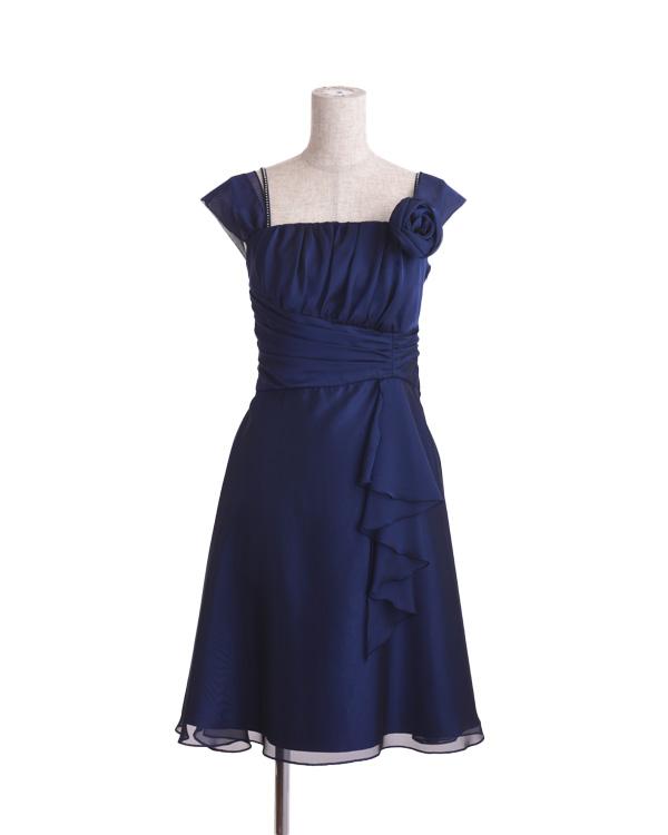【ネイビー 7号】 シフォンジー 切り替えドレス