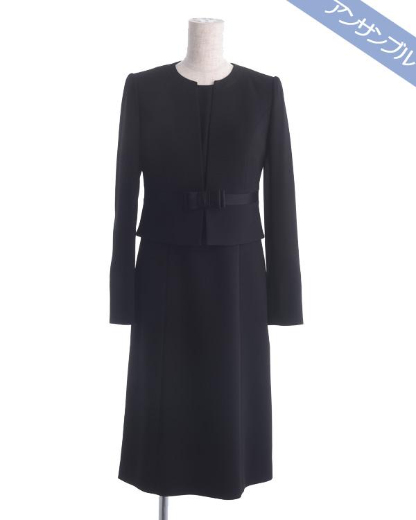 【ブラック ※サイズ選択可能】スリムサイズ 細身 ノーカラージャケット シフォン切り替えワンピース ブラックフォーマルアンサンブル 喪服 ご葬儀 お葬式 卒業式
