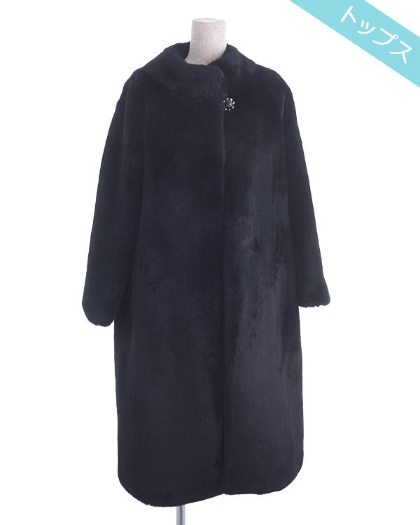 【ブラック 9号】シャイニーエコファー 飾りボタン付き フォーマルコート