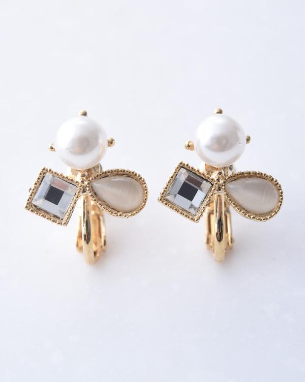【ゴールド×ホワイト】パール ガラスストーン アクリルストーン パーティ デザインイヤリング
