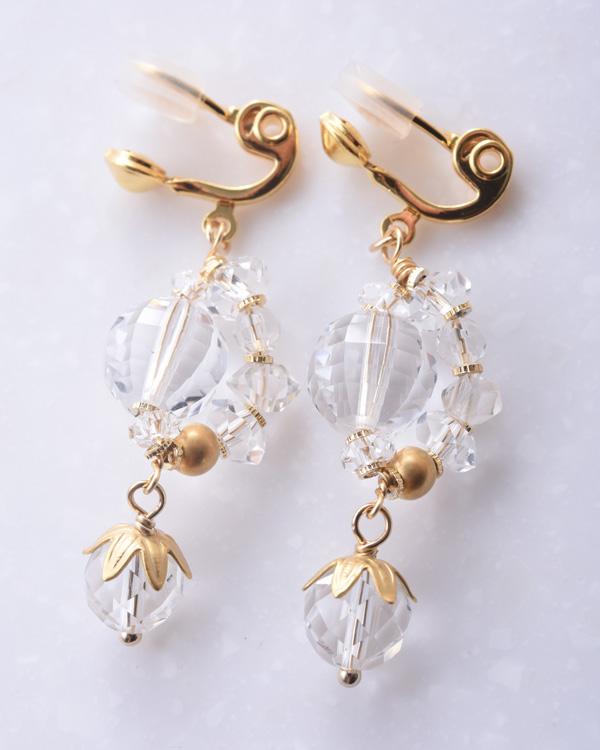 【ゴールド×クリア】クリスタルガラス ロンデル エアイヤリング