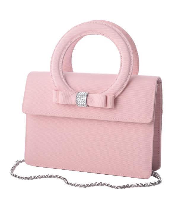 【ピンク】グログラン ラインストーンポイント 持ち手付きフォーマルバッグ