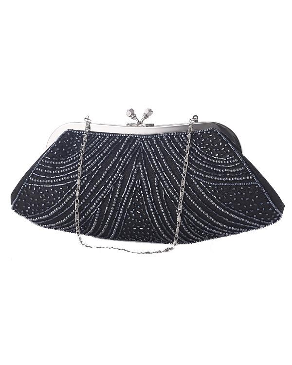 【ブラック】ビーズ刺繍 チェーン付き フォーマルバッグ