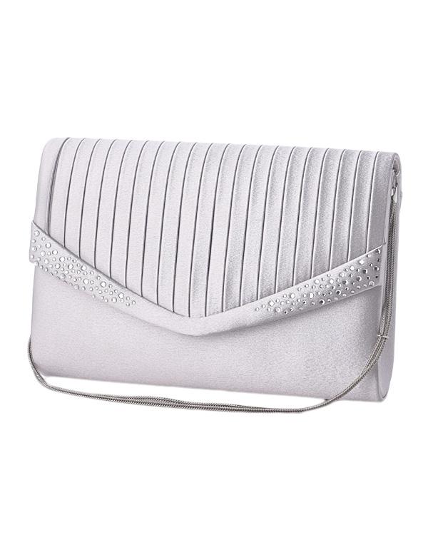 【シルバー】ラインストーン×サテン プリーツ調デザイン チェーン付き コンパクトバッグ