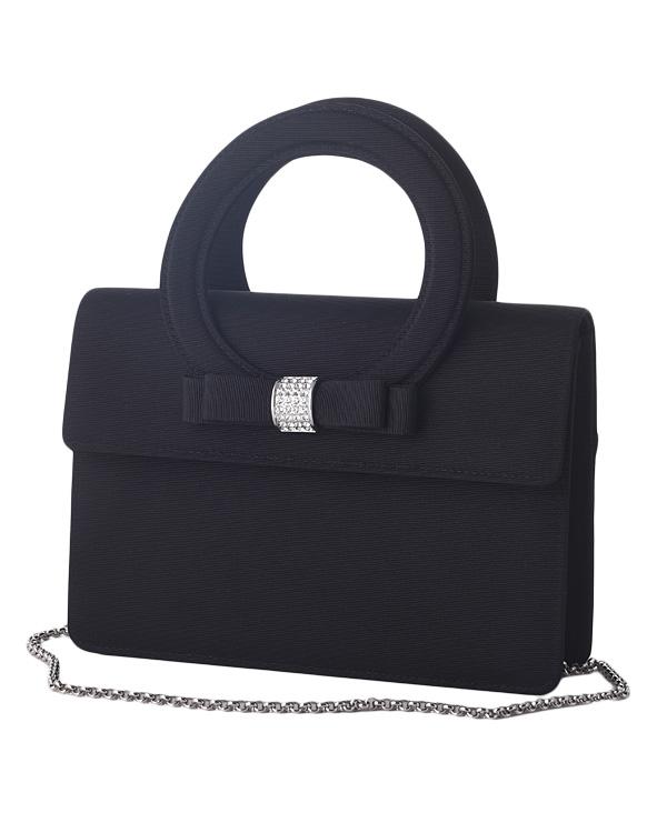 【ブラック】グログラン ラインストーンポイント 持ち手付きフォーマルバッグ