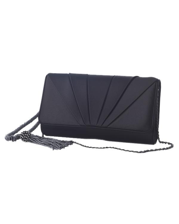 【ブラック】マットサテン タックデザイン タッセル付き コンパクトフォーマルバッグ