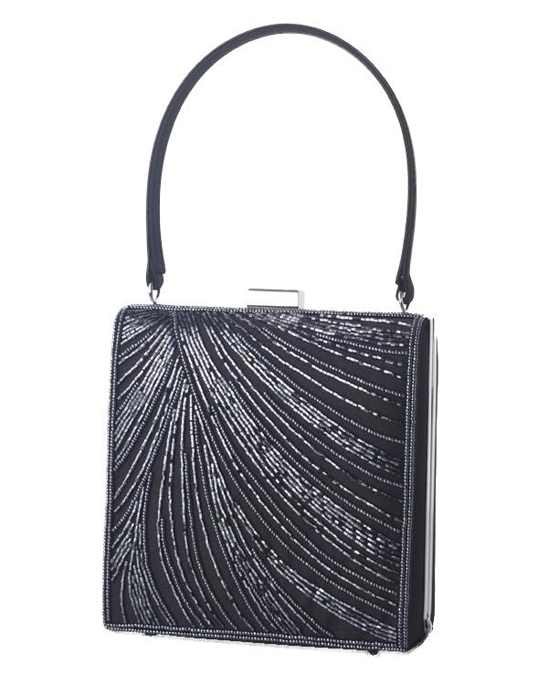 【ブラック】シルクサテン ビーズ刺繍 持ち手付き フォーマルバッグ