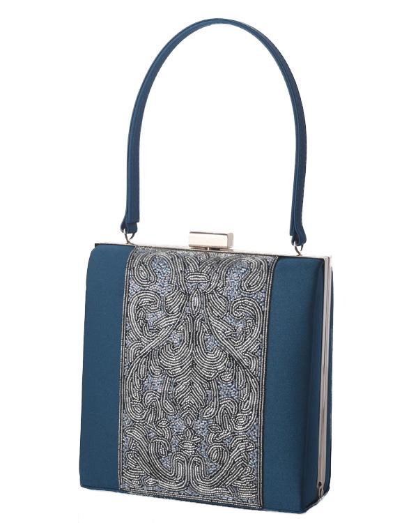 【グリーン】シルクサテン ビーズ刺繍 持ち手付き フォーマルバッグ