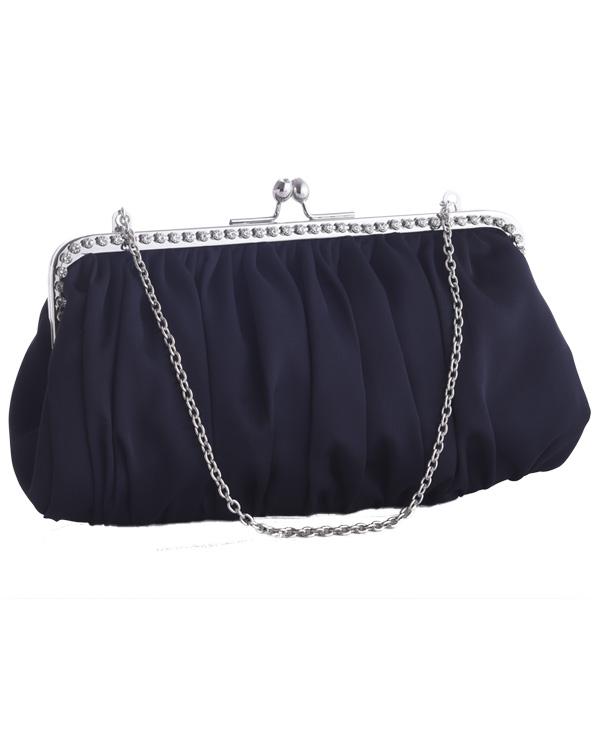 【ブラック】ガマ口 ラインストーン サテンプリーツ 肩掛けチェーン付き フォーマルバッグ